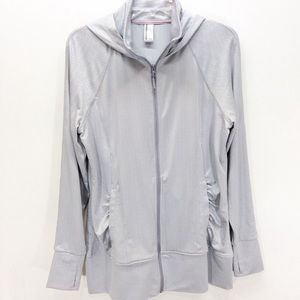 Mondetta Zip Up Athletic Hooded Jacket Gray White